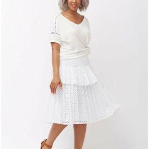 Lane Bryant White Pleated Eyelet Full Skirt NWT